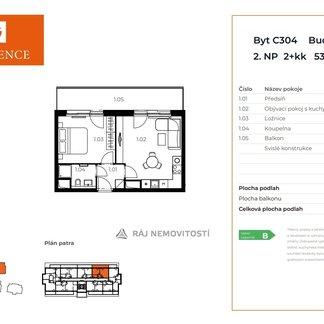Prodej bytu 2+kk, 40,64 m2, balkon 13,09 m2,  Projekt Unhošť C 304