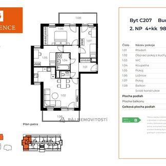 Prodej bytu 4+kk, 82,8 m2, balkon 16,4 m2,  Projekt Unhošť C 207