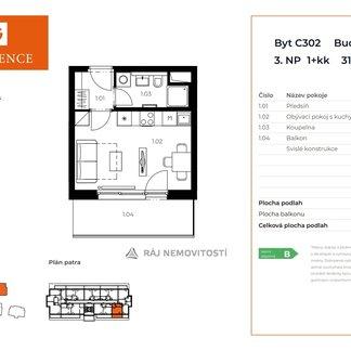 Prodej bytu 1+kk, 23,99 m2, terasa 7,68 m2,  Projekt Unhošť C 302