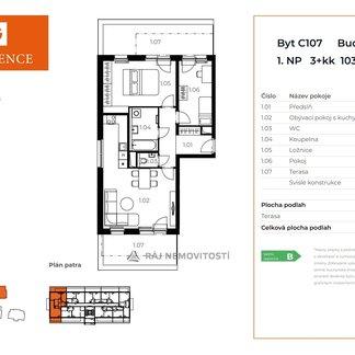 Prodej bytu 3+kk, 76 m2, terasa 27,9 m2,  Projekt Unhošť C 107