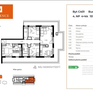 Prodej bytu 4+kk, 103,14 m2, terasa 48,67 m2,  Projekt Unhošť C 401