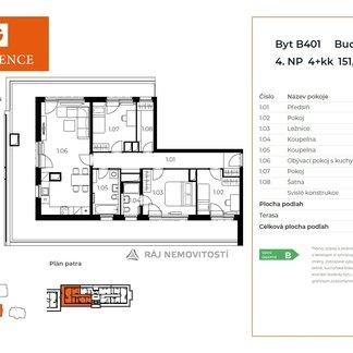 Prodej bytu 4+kk, 100,17 m2, terasa 51,65 m2,  Projekt Unhošť B 401