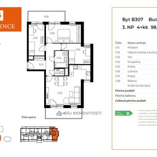 Prodej bytu 4+kk, 82,66 m2, balkon 16,26 m2,  Projekt Unhošť B 307