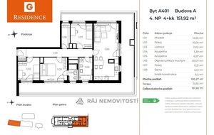 Prodej bytu 4+kk, 100,27 m2, terasa 51,65 m2,  Projekt Unhošť A 401