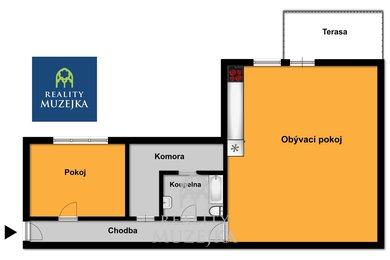 Pronájem prostorného 2+kk s velkou komorou a terasou blízko centra, Ev.č.: 000754
