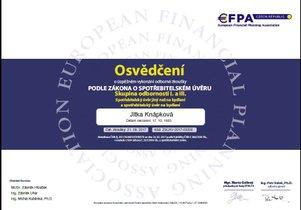 Jitka Knápková certifikát hypotéky a úvěry