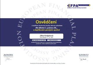 Jitka Knápková certifikát penzijní