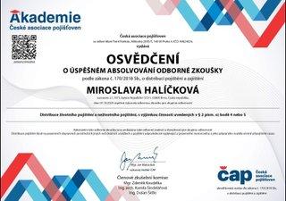 Mirka Halíčková certifikát pojištění