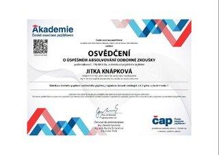 Jitka Knápková certifikát pojištění