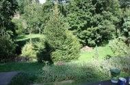 Pohled od sezení na okolní přírodu a potok