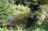 Potok protéká na hranici pozemku