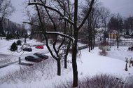 Výhled z terasy do zahrady a okolí
