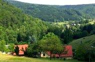N48127_ze sadu dům, kostel v pozadí