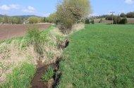 Potok Libuňka,hranice pozemku.