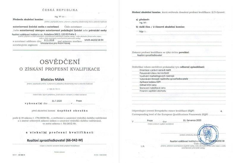 Málek_Osvědčení - profesní kvalifikace