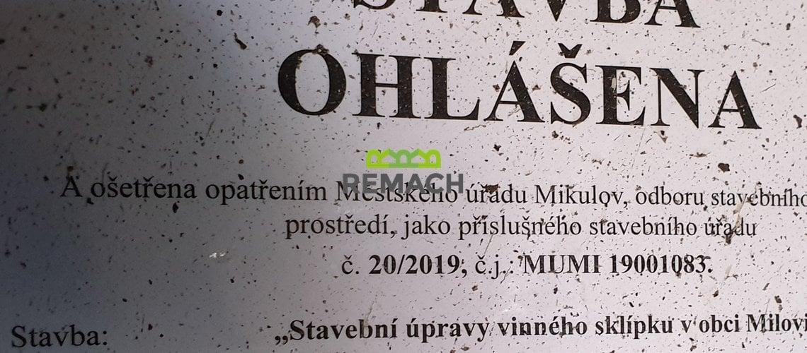 ohláška sklep Milovice