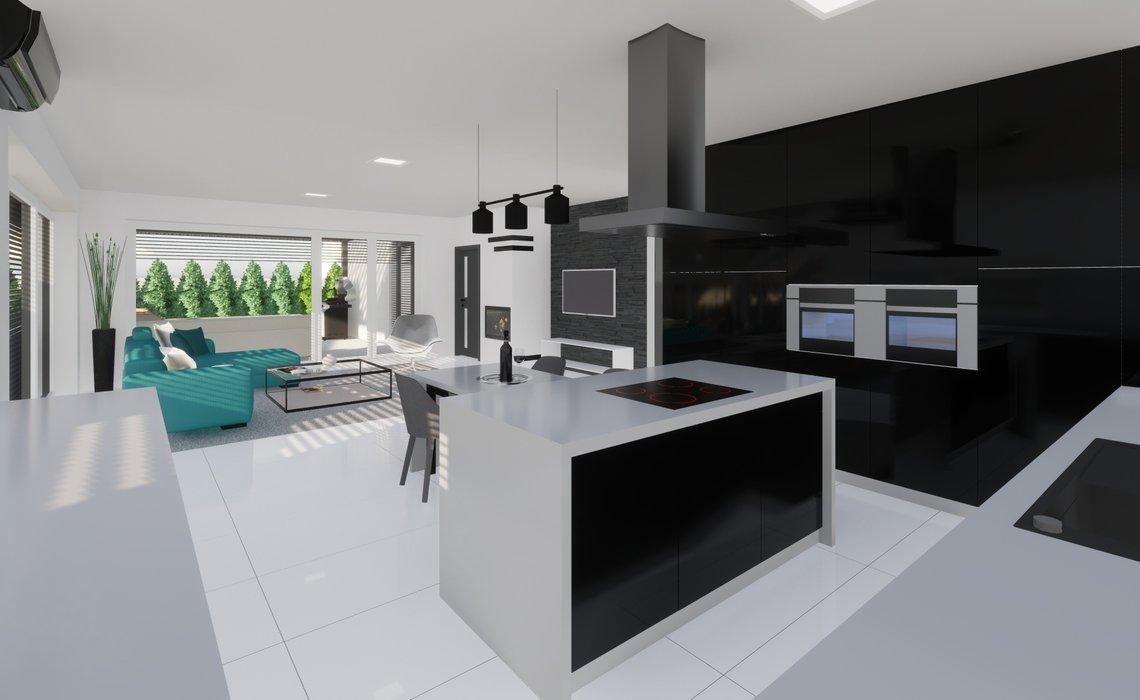 Kuchyně s ostrůvkem a energo skříní