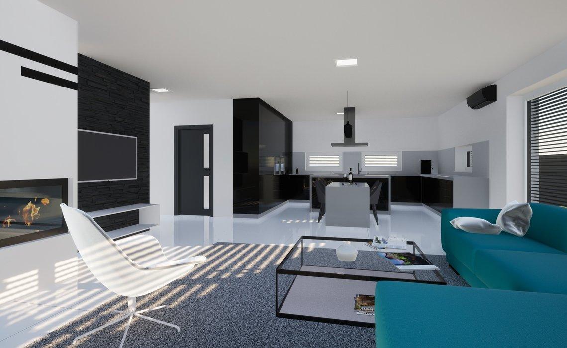 Obývací pokoj s krbem je propojens prostornou kuchyňskou linkou