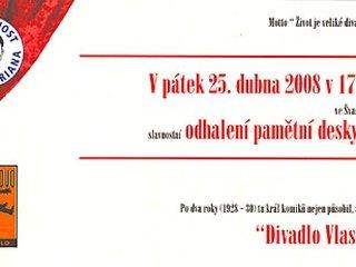 Revealing the memorial plaque of Vlasta Burian