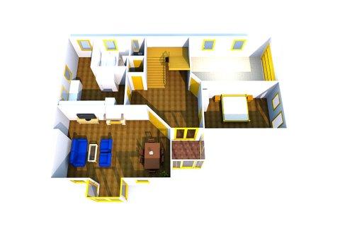 Plánek domu 3D přízemí