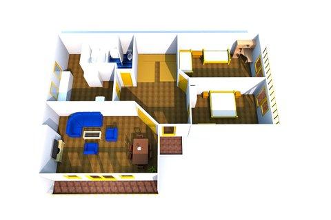Plánek domu 3D 1.patro