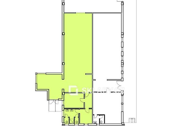 skladová hala 155 m2 - Horní Počernice..- layout